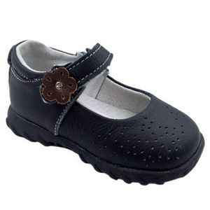 👀Black Flower Leather Mary Jane's